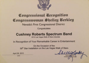 U.S. Congressional Certificate of Recognition from Congresswoman Shelley Berkeley
